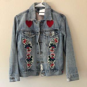 Lucky Brand Embroidered Flower Heart Denim Jacket